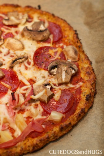 Pepperoni and Mushroom Pizza on Cauliflower Crust